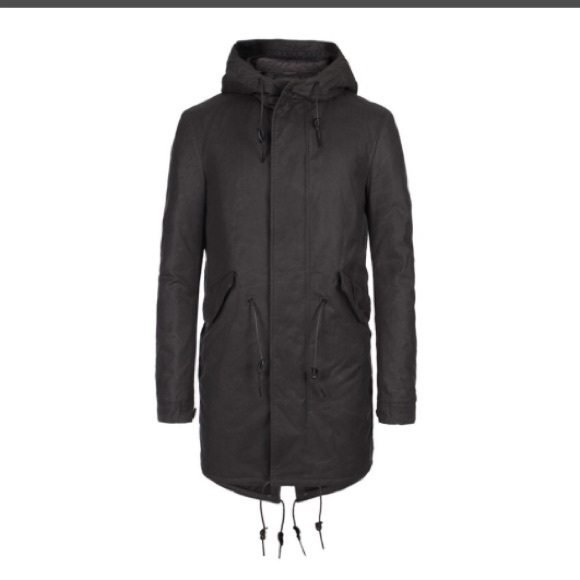 All Black Parka Jacket Mens